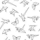 Vector seamless pattern with origami animals. Abstract creative background