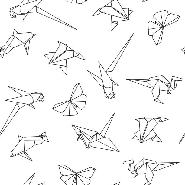 Vector Seamless Pattern With Origami Animals Abstract Creative Background Art Illustration