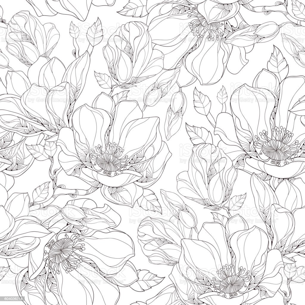 vector seamless pattern with ornate magnolia flower buds and leaves