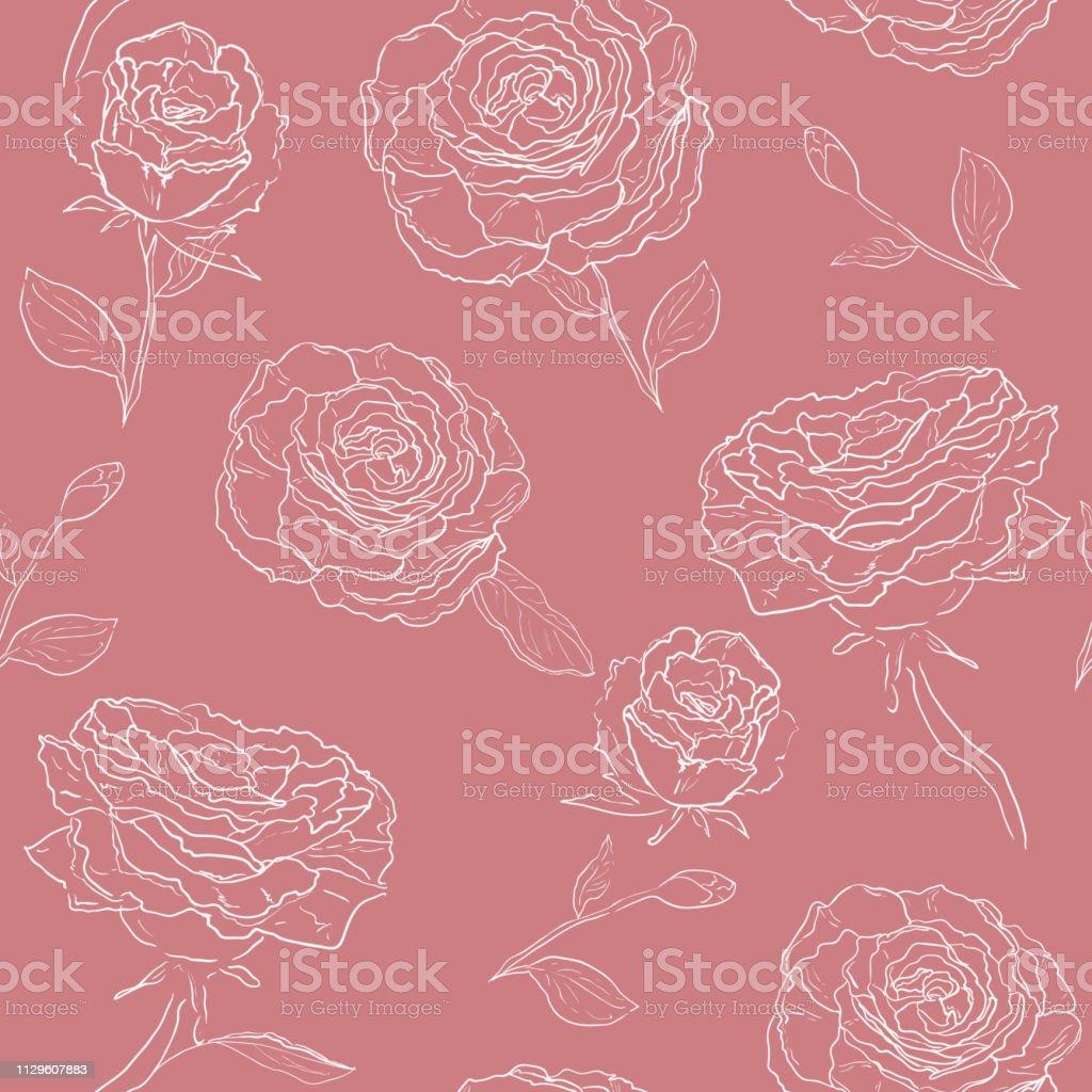 ベクター アウトライン装飾的なバラとシームレスなパターン美しい