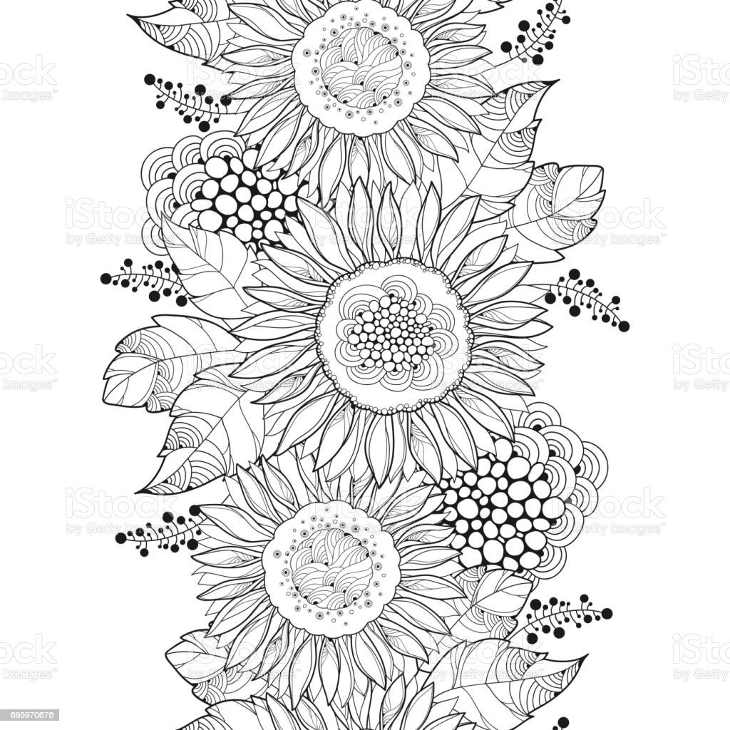 Vector Seamless Pattern With Outline Sunflower Or ...