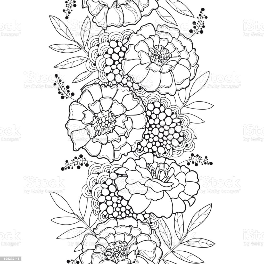 Vector seamless pattern with outline tagetes or marigold flower and vector seamless pattern with outline tagetes or marigold flower and leaves in black on the white mightylinksfo