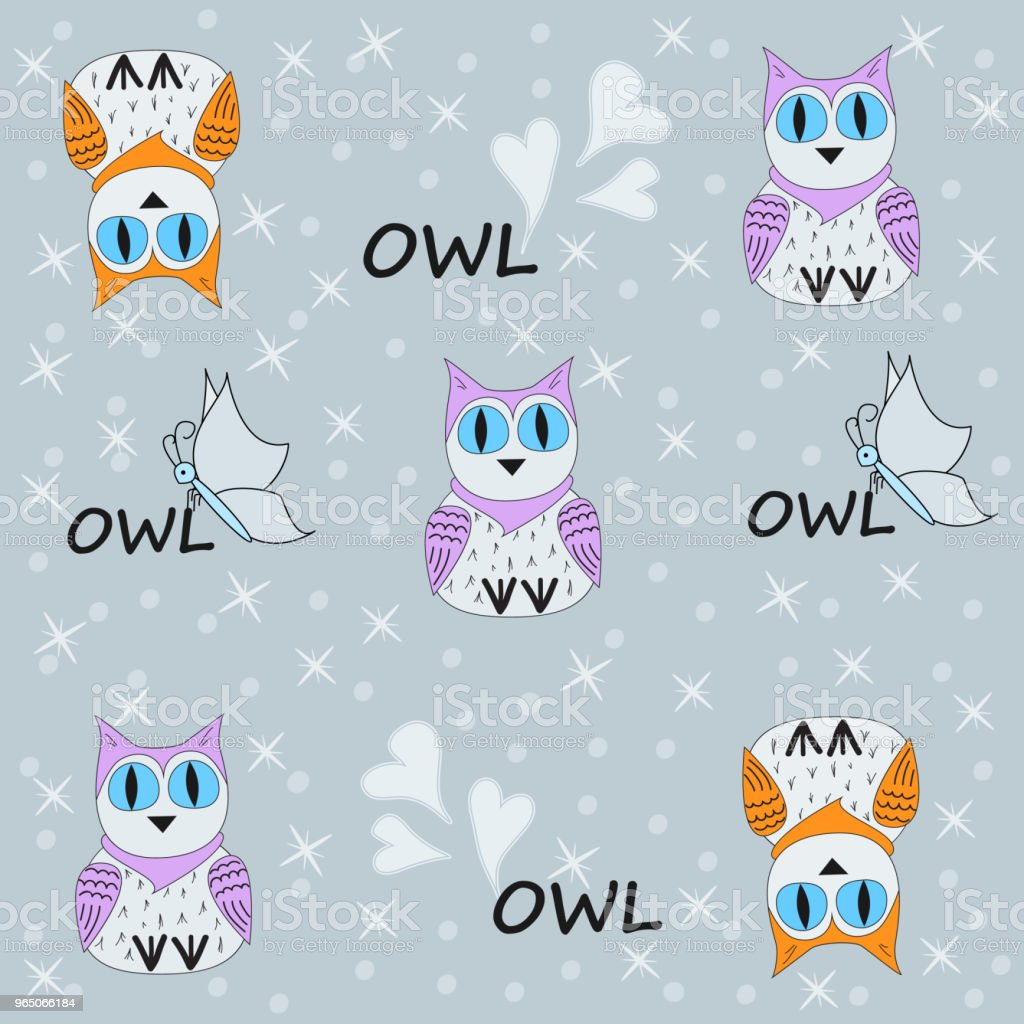 Vector seamless pattern with owls, butterflies and hearts. Illustration of a cartoon owl. Vector illustration. The template for the cover fabric, books. royalty-free vector seamless pattern with owls butterflies and hearts illustration of a cartoon owl vector illustration the template for the cover fabric books stock vector art & more images of animal