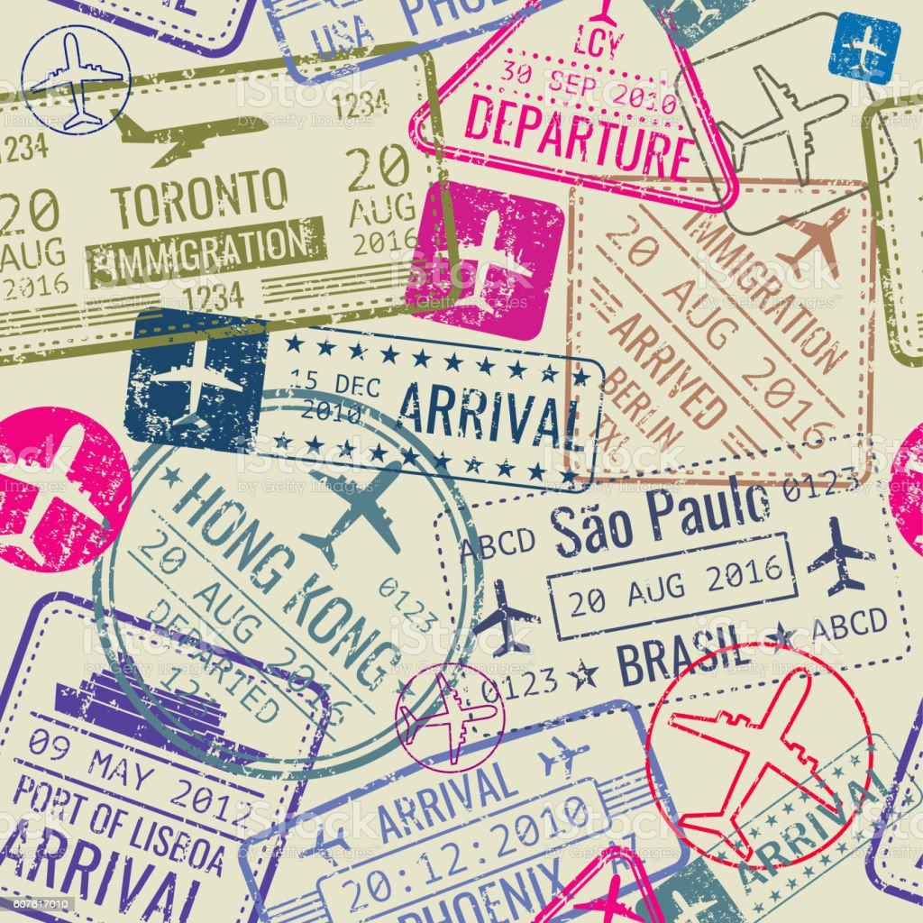 Vector seamless pattern with passport visa stamps - ilustración de arte vectorial