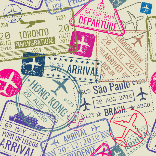 illustrations, cliparts, dessins animés et icônes de vector seamless pattern with passport visa stamps - passeport et visa