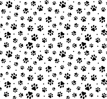 Vector seamless pattern with paw footprints of a dog (wolf), stains and smears. stock illustration