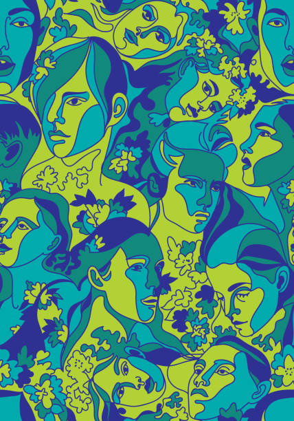 bildbanksillustrationer, clip art samt tecknat material och ikoner med vector sömlösmönster med människor huvuden och ansikten - abstract silhouette art