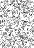 Vector seamless pattern. Plane drawing made of faces and foliage. Graphic artwork with heads silhouette.