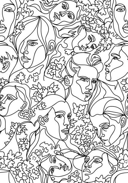 ilustrações de stock, clip art, desenhos animados e ícones de vector seamless pattern with people heads and faces - só adultos