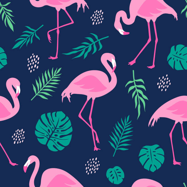 Vector seamless pattern with pink flamingos and tropical palm leaves. Hand Drawn illustration. Vector seamless pattern with pink flamingos and tropical palm leaves. Hand Drawn illustration. flamingo stock illustrations