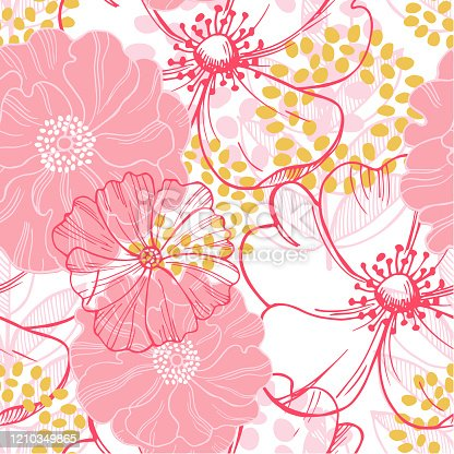 Vector seamless pattern with pink  flowers