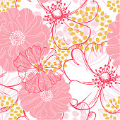 istock Vector seamless pattern with pink  flowers 1210349865