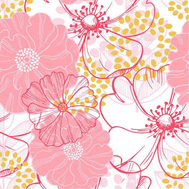 Vector seamless pattern with pink  flowers Vector seamless pattern with pink  flowers blossom stock illustrations