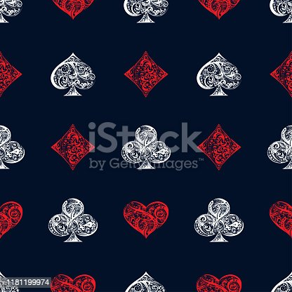 istock Vector seamless pattern with Playing Card suits symbols 1181199974
