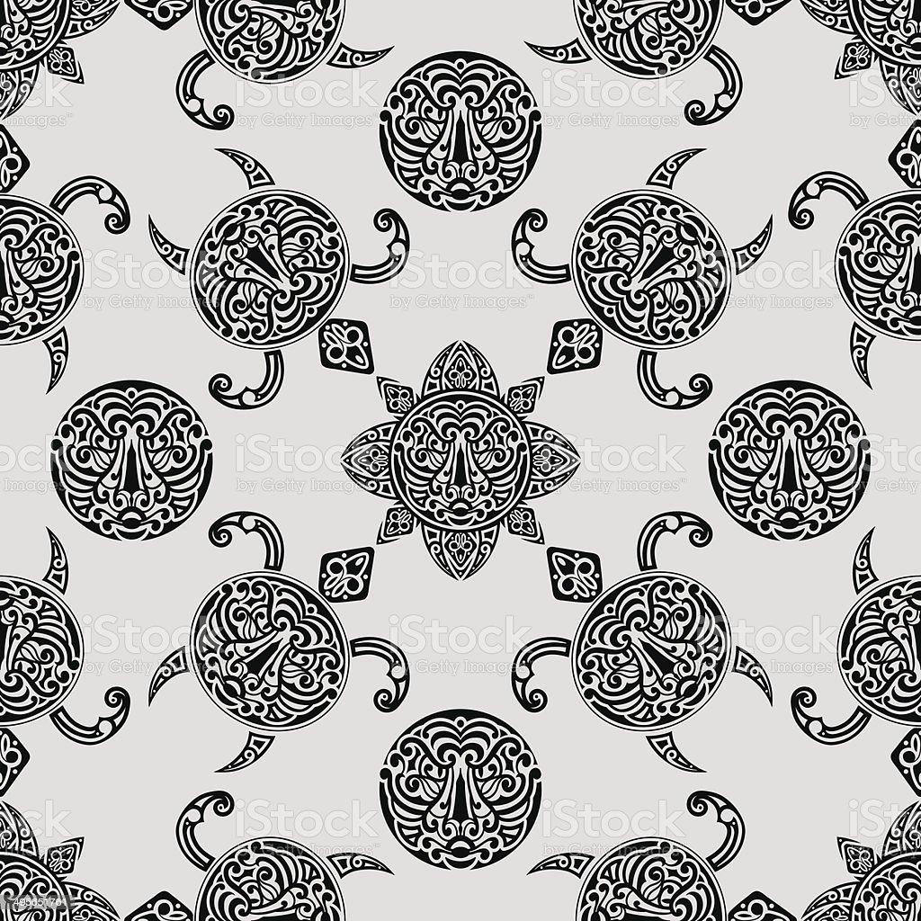 vector seamless pattern with polynesian symbols vector art illustration
