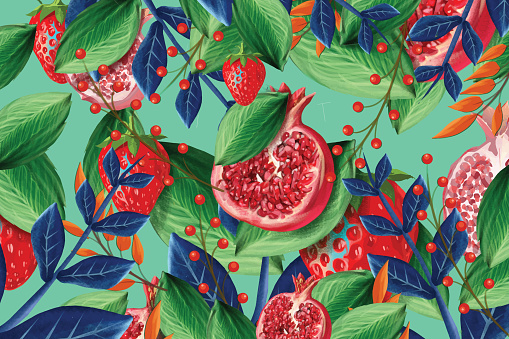 Vector seamless pattern with pomegranate and strawberry fruits