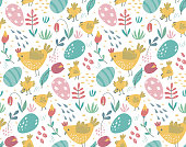 Vector seamless pattern with rabbits, chicken and flowers. Spring Easter endless background with cartoon bunnies, birds, eggs and plants