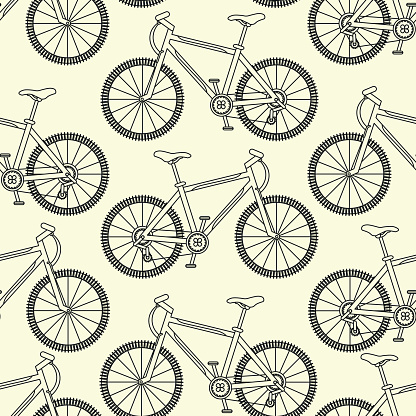 Vector seamless pattern with racing bikes.