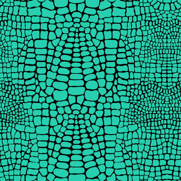 vector seamless pattern with realistic crocodile or alligator skin. green leather wallpaper. animalistic background. - reptiles stock illustrations