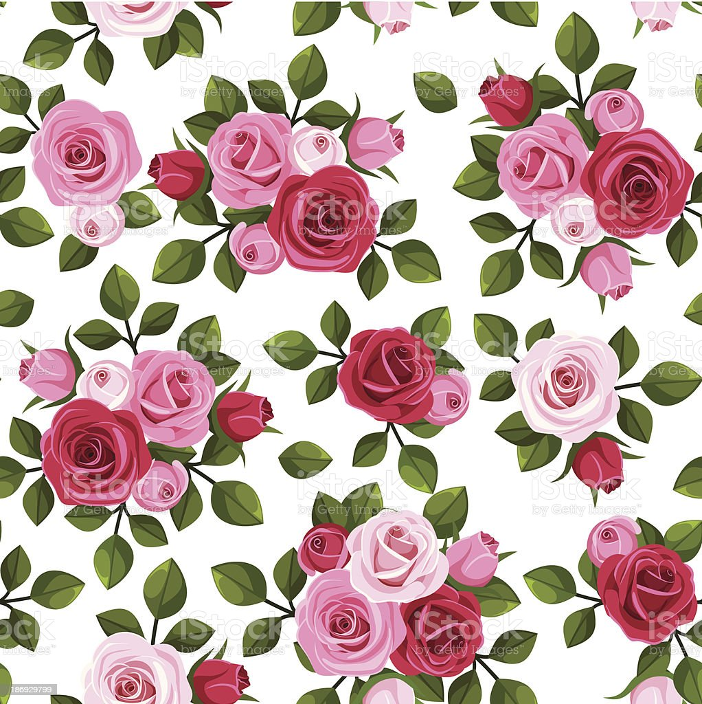 Vector seamless pattern with red and pink roses on white. vector art illustration