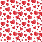 Vector seamless pattern with red paper cut hearts on white background. Paper cut hearts seamless pattern. Background for Happy Valentine's Day, Mother's Day, Women's Day, birthday, wedding.