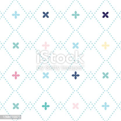 istock Vector seamless pattern with rhombuses and abstract flowers in different colors. 1268270372