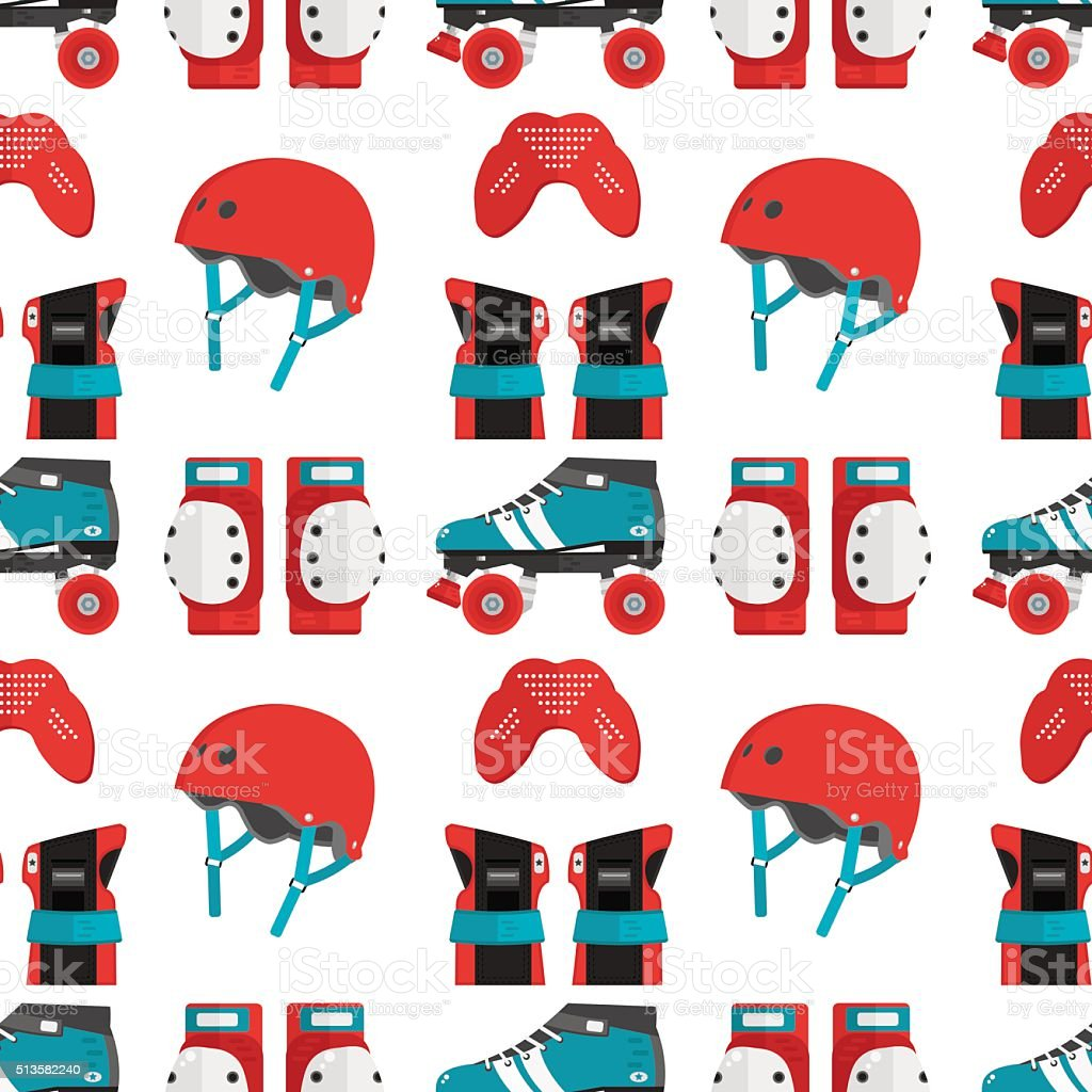 Vector seamless pattern with roller derby protective gear vector art illustration