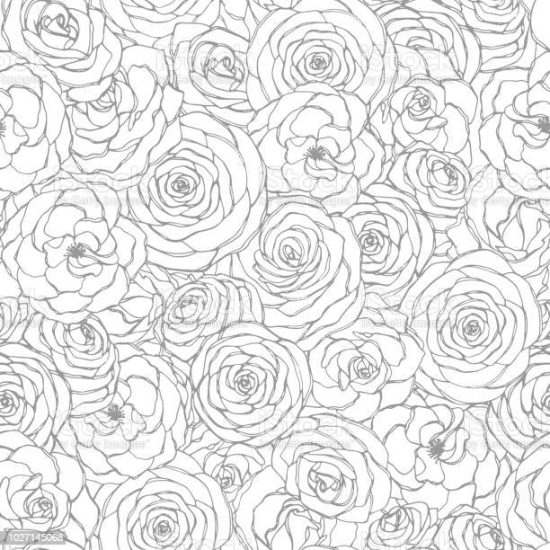 Vector seamless pattern with rose flowers line art on the white hand vector id1027145068?b=1&k=6&m=1027145068&s=612x612&h=qwa8t j0gzsbuma049jfmuuejxil9kvewuw7mx 1u9o=