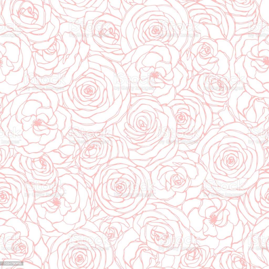 흰색 바탕에 분홍색 장미 꽃 개요와 벡터 완벽 한 패턴입니다. 손으로 그린 스케치 스타일에서 화의 꽃 반복 장식. 위해 종이, 커버, 섬유, 등 사용 가능 - 로열티 프리 0명 벡터 아트