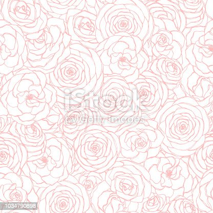 istock Vector seamless pattern with rose flowers pink outline on the white background. Hand drawn floral repeat ornament of blossoms in sketch style. Usable for wrapping paper, covers, textile, etc. 1034790898