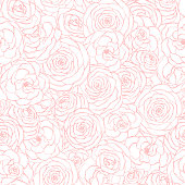 Vector seamless pattern with rose flowers pink outline on the white background. Hand drawn floral repeat ornament of blossoms in sketch style. Usable for wrapping paper, covers, textile, etc.