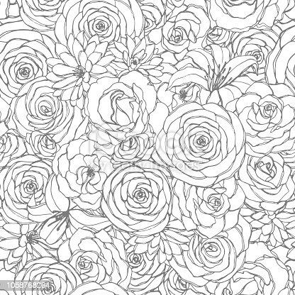 istock Esquema doodle flores de libro de colorear de adultos ...