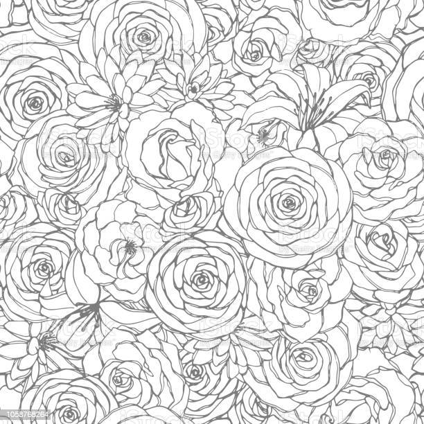 Vector seamless pattern with rose lily peony and chrysanthemum line vector id1058768264?b=1&k=6&m=1058768264&s=612x612&h=h6mshw5mesy4x3osd kajbwu8sxz awbbcmwx1p y2e=