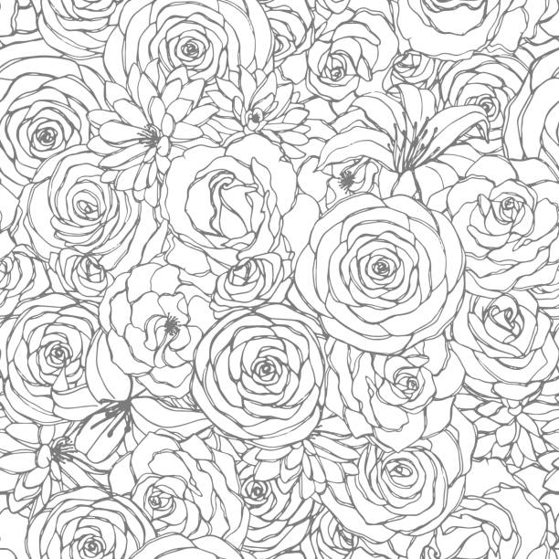 Vector seamless pattern with rose, lily, peony and chrysanthemum flowers line art on the white background. Hand drawn floral repeat ornament of blossoms in sketch style. Usable for coloring books. Vector seamless pattern with rose, lily, peony and chrysanthemum flowers line art on the white background. Hand drawn floral repeat ornament of blossoms in sketch style. Usable for coloring books. rose flower stock illustrations