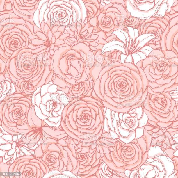 Vector seamless pattern with rose lily peony and chrysanthemum of vector id1061267642?b=1&k=6&m=1061267642&s=612x612&h=1qjbbmqif rdv3hn2dhjw3dhyuq7txmvph8et2jr8ze=