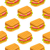 Vector seamless pattern with sandwich.