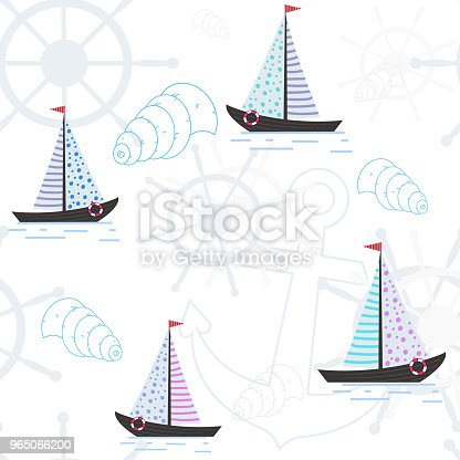 Vector Seamless Pattern With Ships Anchors And Seashells Sea Pattern Design Of A Substrate On A Theme Of Rest Vacation The Sea Stock Vector Art & More Images of Abstract 965066200