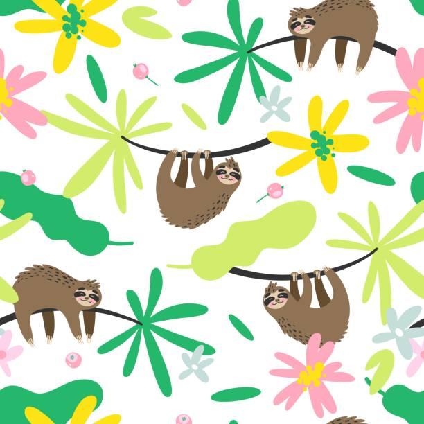 nahtlose vektormuster mit trägheit und bunten tropischen blättern und blüten - faul ast stock-grafiken, -clipart, -cartoons und -symbole