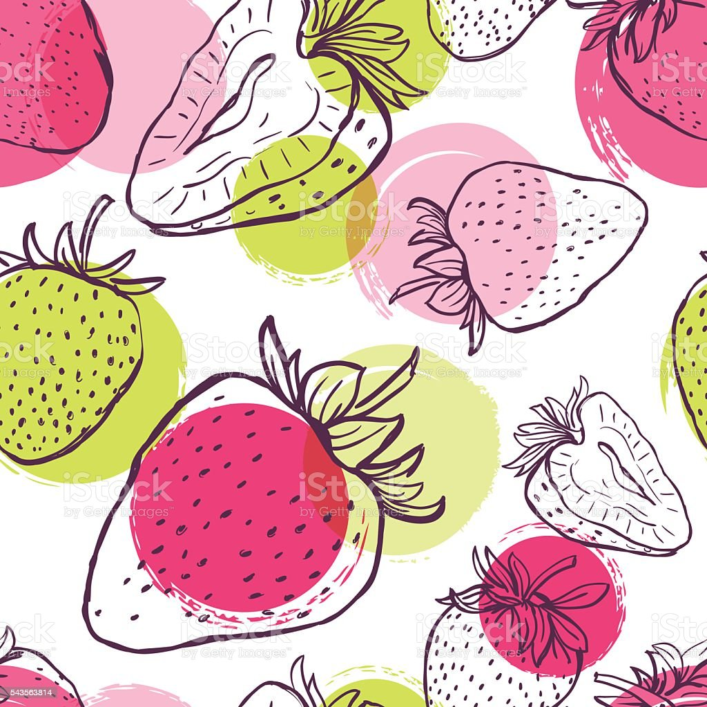 Vector seamless pattern with strawberries and colorful watercolor blots. vector art illustration