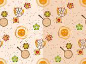 Vector seamless pattern with sun, flowers, pancakes and burning wheel. Russian holiday Maslenitsa.