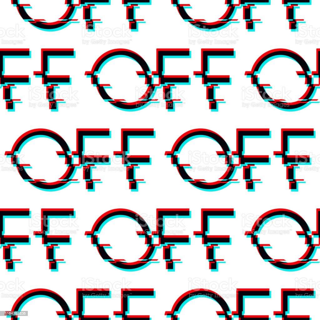Vector Seamless Pattern With Symbol Of Word Off In Glitch
