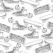 Vector seamless pattern with teenagers stuff. Hand drawn background. Skateboards, sneakers, boombox, record player.Vector seamless pattern with teenagers shoes. Hand drawn background. Sneakers.