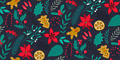 Vector seamless pattern with traditional Christmas plants, flowers, fir branches, holiday simbols.