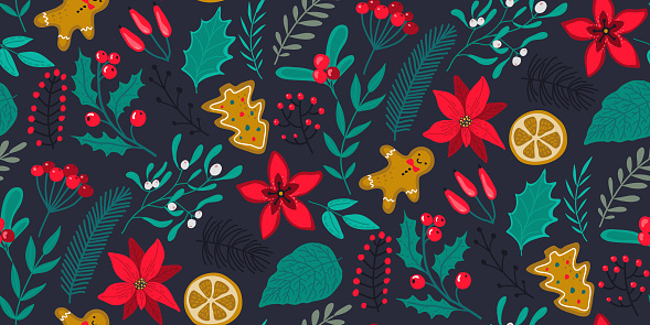 Vector seamless pattern with traditional Christmas plants, flowers