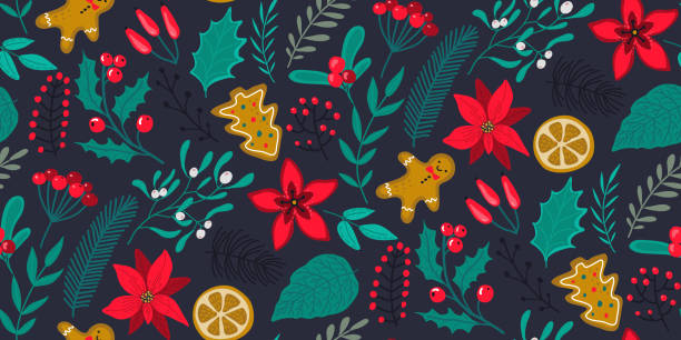 Vector seamless pattern with traditional Christmas plants, flowers Vector seamless pattern with traditional Christmas plants, flowers, fir branches, holiday simbols. christmas backgrounds stock illustrations