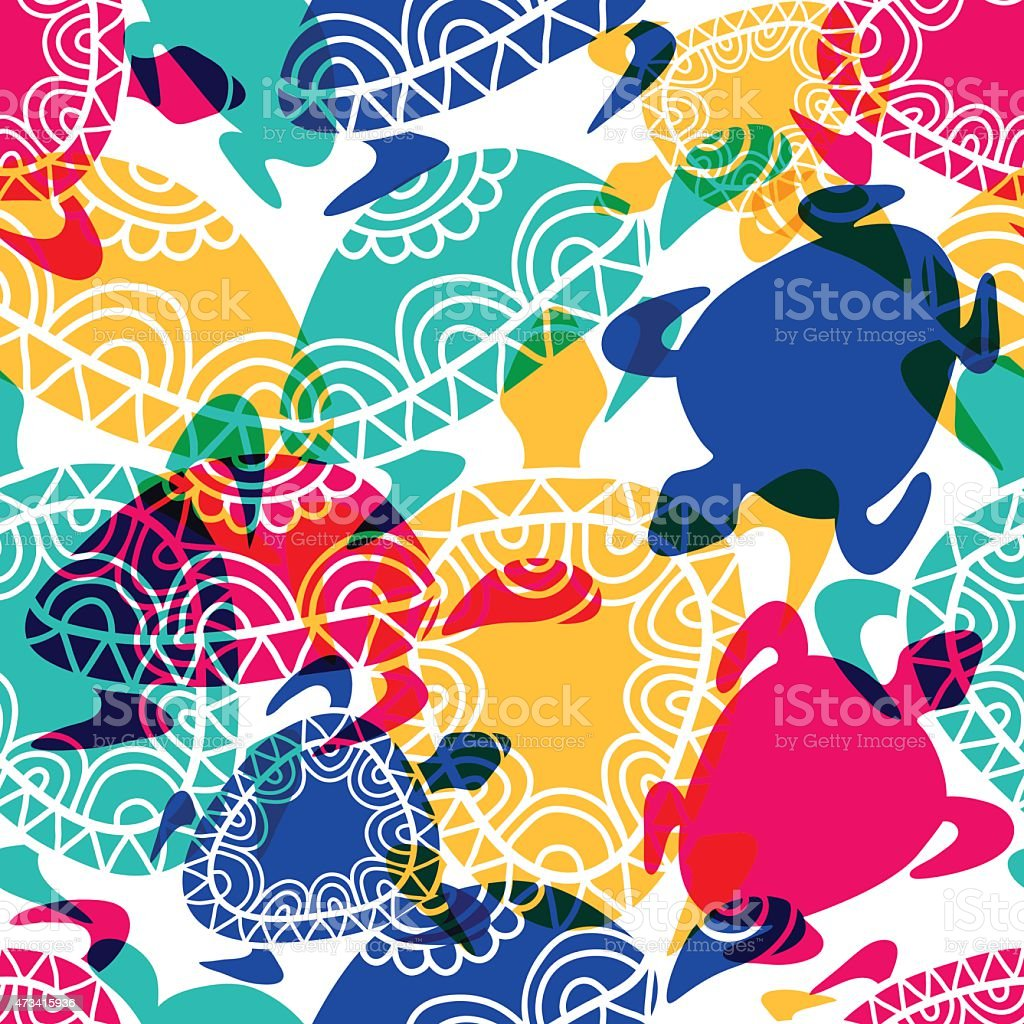 Vector seamless pattern with transparent multicolor ornamental turtles. vector art illustration