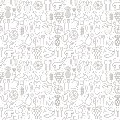 Vector seamless pattern with trendy icons of healthy eco fruits and vegetables