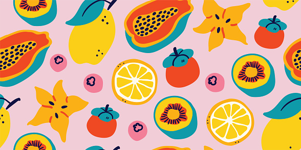 Vector seamless pattern with tropical fruits -pink