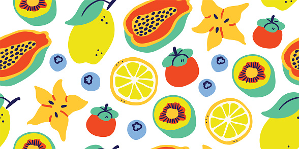 Vector seamless pattern with tropical fruits white