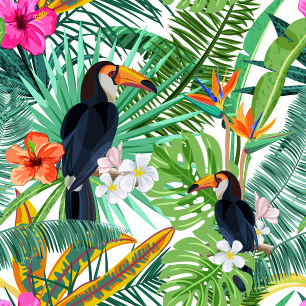 Vector seamless pattern with tropical palm leaves, flowers and bird toucan. Summer design for fashion textile prints Vector seamless pattern with green tropical palm leaves, hibiscus flowers and bird toucan. Nature background. Summer or spring trendy design elements for fashion textile prints and greeting cards. bird backgrounds stock illustrations